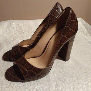 Talbots Brown Open Toe Heels Pumps Croc Size 8.5B